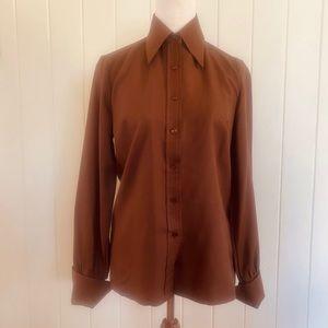 🌱 LA DONNA Sz S VINTAGE Brown 70s Buttoned Shirt
